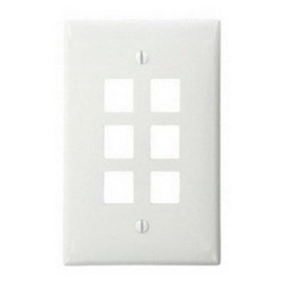 Leviton 41091-6WN Leviton 41091-6WN QuickPort® 1-Gang Wallplate; Flush Mount, High-Impact Nylon, White