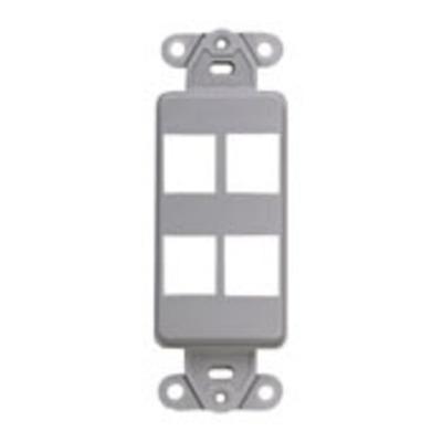 Leviton 41644-GY Leviton 41644-GY Multimedia Insert; Flush, (4) Port, High Impact Flame Retardant Plastic, Gray