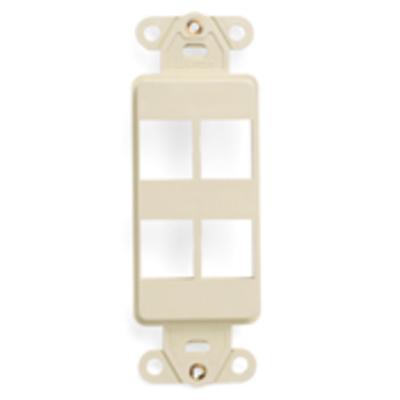 Leviton 41644-T Leviton 41644-T 1-Gang Multimedia Insert; Flush, (4) Port, High Impact Flame Retardant Plastic, Light Almond