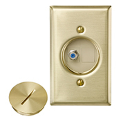 Leviton 41650-F Leviton 41650-F QuickPort® Round Floor Jack Insert; Floor Mount, Solid Brass