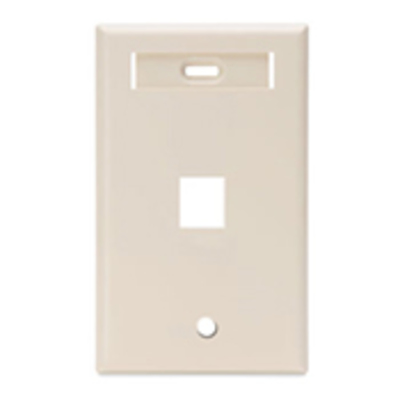 Leviton 42080-1TS Leviton 42080-1TS 1-Gang Standard Wallplate With ID Window; Flush, (1) Port, High Impact Flame Retardant Plastic, Light Almond