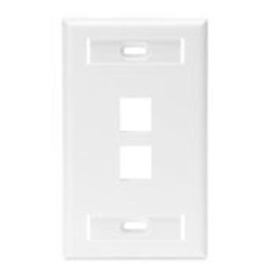 Leviton 42080-2WS Leviton 42080-2WS 1-Gang Standard Wallplate With ID Window; Box/Flush, (2) Port, High Impact Flame Retardant Plastic, White