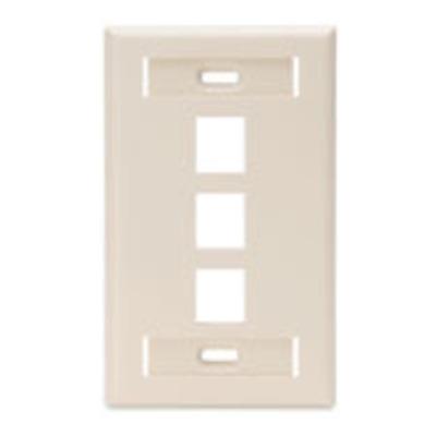 Leviton 42080-3TS Leviton 42080-3TS 1-Gang Standard Wallplate With ID Window; Flush, (3) Port, High Impact Flame Retardant Plastic, Light Almond