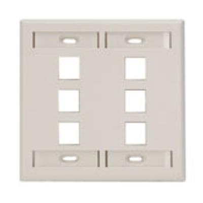 Leviton 42080-6TP Leviton 42080-6TP QuickPort® Wallplate With ID Windows; 2-Gang, 6-Port, Box Mount, Light Almond