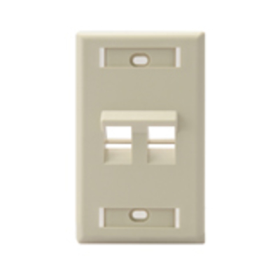 Leviton 42081-2IS Leviton 42081-2IS 1-Gang Angled Wallplate With ID Window; Flush, (2) Port, High Impact Flame Retardant Plastic, Ivory
