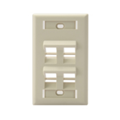 Leviton 42081-4IS Leviton 42081-4IS 1-Gang Angled Wallplate With ID Window; Flush, (4) Port, High Impact Flame Retardant Plastic, Ivory