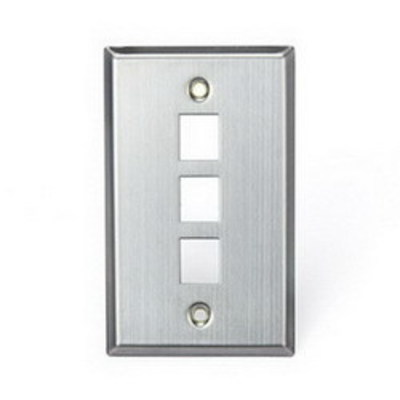 Leviton 43080-1S3 Leviton 43080-1S3 1-Gang Quick Connect Wallplate; (3) Port, Stainless Steel