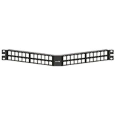 Leviton 49256-D48 Leviton 49256-D48 QuickPort® Angled High-Density Patch Panel; 48-Port, 1-Rack Unit, 20 Gauge Steel, Matte Black