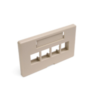Leviton 49910-HI4 Leviton 49910-HI4 Modular Furniture Faceplate With ID Windows; Flush, (4) Port, ABS Plastic Bracket, Ivory
