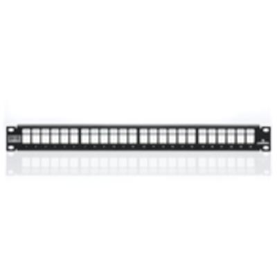 Leviton 4S255-S24 Leviton 4S255-S24 QuickPort® Shielded Flat Patch Panel; 24-Port, 1-Rack Unit