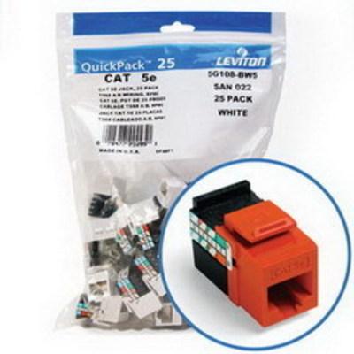 Leviton 5G108-BO5 Leviton 5G108-BO5 GigaMax® Category 5e Modular Jack; Snap-In/Surface/Flush Mount, 8P8C, Orange
