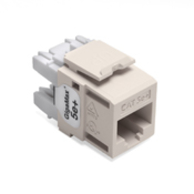 Leviton 5G110-RT5 Leviton 5G110-RT5 GigaMax® QuickPort® Category 5e+ Modular Connector; Snap-In/Surface/Flush Mount, 8P8C, Light Almond