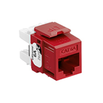Leviton 6110G-RR6 Leviton 6110G-RR6 eXtreme® 10G Quickport® Channel Rated Category 6A Connector; 1 Port, Crimp Connection, Surface/Flush Mount, Fire-Retardant Plastic, Dark Red
