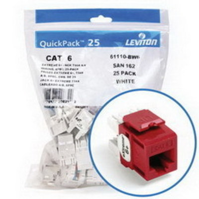 Leviton 61110-BC6 Leviton 61110-BC6 eXtreme® QuickPort® Category 6 Modular Connector; Snap-In/Panel/Wall Plate Mount, 8P8C, Crimson Red, 25/Pack