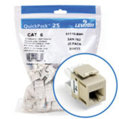 Leviton 61110-BI6 Leviton 61110-BI6 eXtreme® QuickPort® Category 6 Modular Connector; Snap-In/Panel/Wall Plate Mount, 8P8C, Ivory, 25/Pack