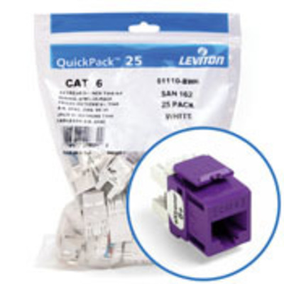 Leviton 61110-BP6 Leviton 61110-BP6 eXtreme® QuickPort® Category 6 Modular Connector; Snap-In/Panel/Wall Plate Mount, 8P8C, Purple, 25/Pack