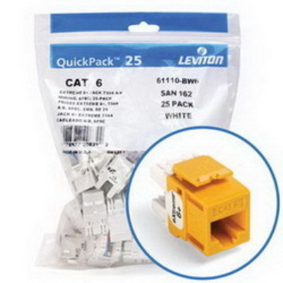 Leviton 61110-BY6 Leviton 61110-BY6 eXtreme® QuickPort® Category 6 Modular Connector; Snap-In/Panel/Wall Plate Mount, 8P8C, Yellow, 25/Pack
