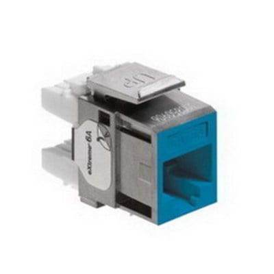 Leviton 6A10G-RL6 Leviton 6A10G-RL6 eXtreme® QuickPort® Component-Rated Category 6A Connector; Snap-In Mount, Blue
