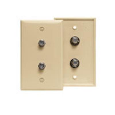 Leviton 80782-T Leviton 80782-T Standard Video Wall Jack Plate; Box Mount, Duplex Female, High Impact Plastic, Light Almond