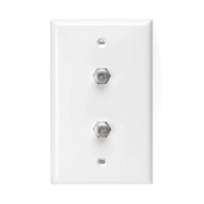 Leviton 80782-W Leviton 80782-W Standard Video Coax Wall Jack Plate; Box Mount, High Impact Plastic, White