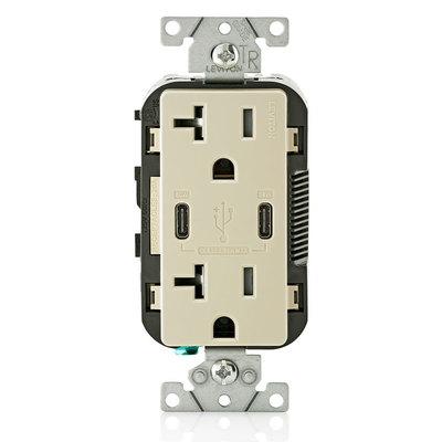 Leviton T5835-I T5835-I LEVITON 20A TR RECPT USB TYPE CC CHRG - IVORY
