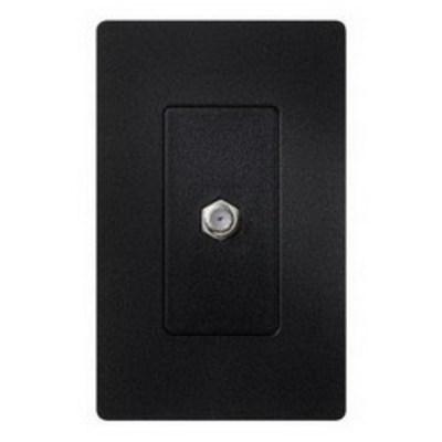 Lutron SC-CJ-MN Lutron SC-CJ-MN Designer Products Single Cable Jack; (1) F-Style Cable Jack, Wallbox Mount, Plastic, Midnight