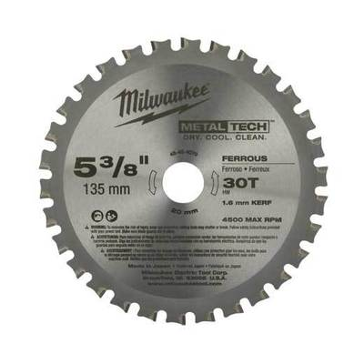Milwaukee Electric Tools 48-40-4070 Milwaukee Tools 48-40-4070 Metaltech™ M18™ Ferrous Metal Circular Saw Blade; 5-3/8 Inch, 20 mm Arbor, 30 Teeth