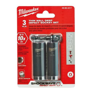 Milwaukee Electric Tools 49-66-4417 49-66-4417 MILWAUKEE SHCKWV 3/8 DR SAE DP IMPCT SCKT SET 3PC