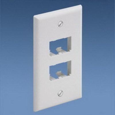 Panduit CFP4EI Panduit CFP4EI Mini-Com® 1-Gang Flat Faceplate; (4) UTP, STP, Fiber-Optic, A/V Port, ABS, Electric Ivory