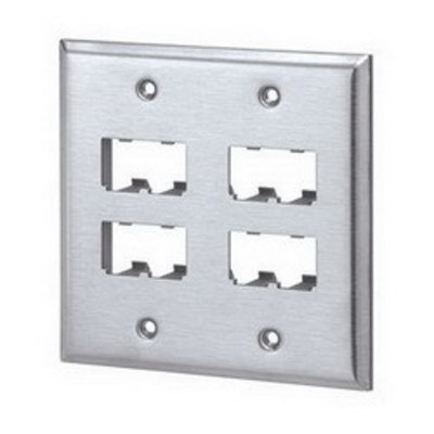 Panduit CFP8S-2GY Panduit CFP8S-2GY Mini-Com® 2-Gang Flat Faceplate; (8) UTP, STP, Fiber-Optic, A/V Port, Stainless Steel, International Gray