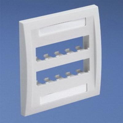 Panduit CFPE10IW-2GY Panduit CFPE10IW-2GY Mini-Com® 2-Gang Flat Faceplate; Screw, (10) UTP, STP, Fiber-Optic, A/V Port, ABS, Off White