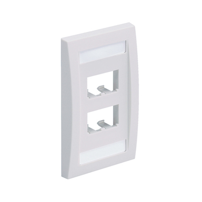 Panduit CFPE4IWY Panduit CFPE4IWY Mini-Com® 1-Gang Flat Faceplate; (4) UTP, STP, Fiber-Optic, A/V Port, ABS, Off White