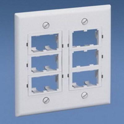 Panduit CFPF12IW-2G Panduit CFPF12IW-2G Mini-Com® 2-Gang Flat Faceplate; (12) UTP, STP, Fiber-Optic, A/V Port, ABS, Off White