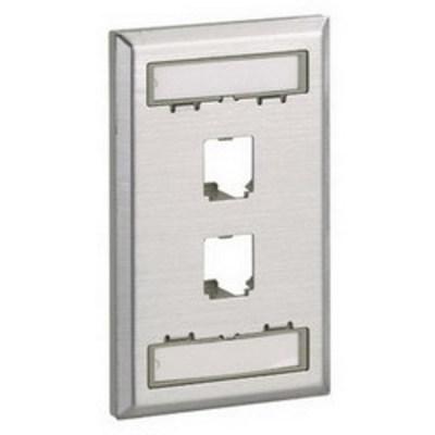 Panduit CFPL2SY Panduit CFPL2SY Mini-Com® 1-Gang Flat Faceplate; Screw, (4) UTP, STP, Fiber-Optic, A/V Port, Plastic, Off White