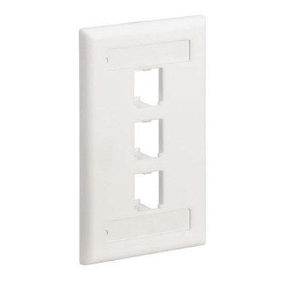 Panduit CFPL3IWY Panduit CFPL3IWY Mini-Com® 1-Gang Flat Faceplate; Screw, (3) UTP, STP, Fiber-Optic, A/V Port, ABS, Off White
