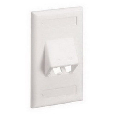 Panduit CFPSL2WHY Panduit CFPSL2WHY Mini-Com® 1-Gang Sloped Faceplate; Screw, (2) UTP, STP, Fiber-Optic, A/V Port, ABS, White