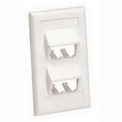 Panduit CFPSL4IGY Panduit CFPSL4IGY Mini-Com® 1-Gang Sloped Faceplate; Screw, (4) UTP, STP, Fiber-Optic, A/V Port, ABS, International Gray