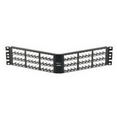 Panduit CPA72BLY Panduit CPA72BLY Mini-Com® Mini-Com Angled Modular Patch Panel; 72-Port, 2-Rack Unit, Black