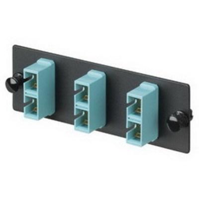 Panduit FAP3WAQDSC Panduit FAP3WAQDSC Opticom® SC Fiber Adapter Panel; Multimode, 3 Duplex Fibers, Black/Aqua