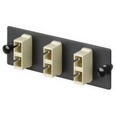 Panduit FAP3WEIDSC Panduit FAP3WEIDSC Opticom® SC Fiber Adapter Panel; Rack/Wall Mount, Multimode, 3 Duplex Fibers, Electric Ivory/Black