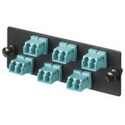 Panduit FAP6WAQDLC Panduit FAP6WAQDLC Opticom® LC Fiber Adapter Panel; Multimode 10GbE OM3/OM4, 6 Duplex Fibers, Aqua