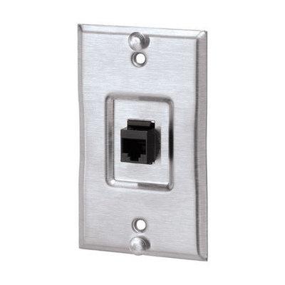 Panduit KWP6PY Panduit KWP6PY 1-Gang Keystone Wall Phone Plate With Category 5e Keystone Jack Module; 2.750 Inch x 4.500 Inch x 0.280 Inch, Stainless Steel