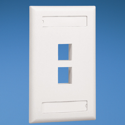 Panduit NK2FEIY Panduit NK2FEIY NetKey® 1-Gang Flat Faceplate; Screw, (2) UTP, STP, Fiber-Optic, A/V Port, ABS, Electric Ivory