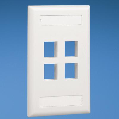 Panduit NK4FEIY Panduit NK4FEIY NetKey® 1-Gang Flat Faceplate; Screw, (4) UTP, STP, Fiber-Optic, A/V Port, ABS, Electric Ivory