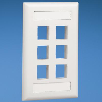Panduit NK6FEIY Panduit NK6FEIY NetKey® 1 Gang Flat Faceplate; 6-Port, Flush/Screw-On Mount, ABS, Electric Ivory