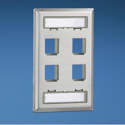 Panduit NKF4S Panduit NKF4S NetKey® 1 Gang Faceplate; (4) UTP, STP, Fiber-Optic, A/V Port, Stainless Steel, Stainless Steel