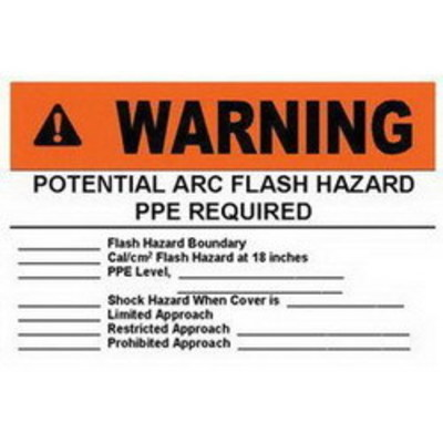 Panduit PVS0305W2101Y Panduit PVS0305W2101Y Safety Arc Flash Label; Black/Orange On White, WARNING