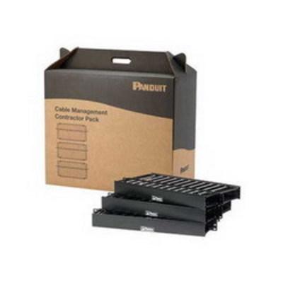 Panduit WMP1E-V Panduit WMP1E-V PatchLink™ Front and Rear Horizontal Cable Manager; Panel Mount, 2-Rack Unit, ABS Plastic, Black, Powder-Coated