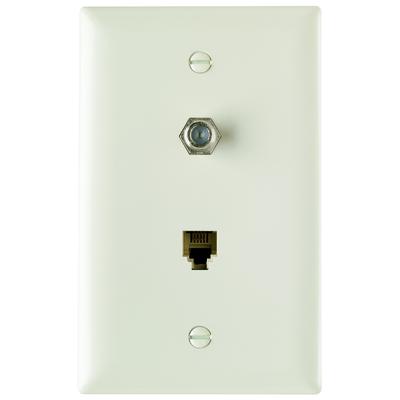 Pass & Seymour TPTELTVLA Pass & Seymour TPTELTV-LA Type F 1-Gang Combination Communication Wallplate; Flush Mount, Thermoplastic Face, Light Almond