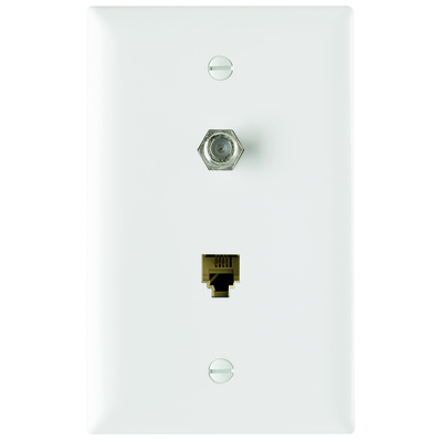 Pass & Seymour TPTELTVW On-Q TPTELTV-W Type F 1-Gang Combination Communication Wallplate; Flush Mount, Thermoplastic Face, White